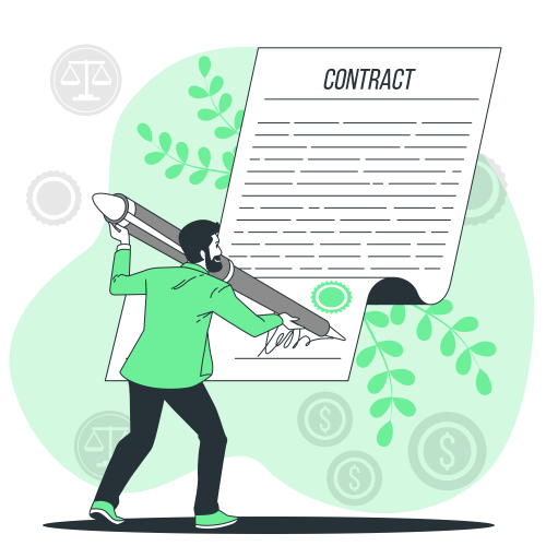 Signing a contract-bro